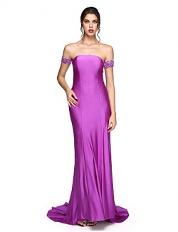 New Zealand Formal Evening Dress Open Back Sheath Column Off The Shoulder Long Floor Length Jersey With Appliques