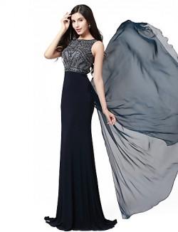 New Zealand Formal Evening Dress Beautiful Back Trumpet Mermaid Jewel Long Floor Length Chiffon Spandex Knitwear With Appliques Beading