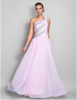 Prom Gowns New Zealand Formal Evening Dress Military Ball Dress Open Back Plus Size Petite Sheath Column Sexy One Shoulder Long Floor Length Chiffon With Beading