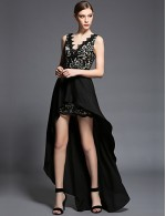 New Zealand Cocktail Party Dresses New Zealand Formal Evening Dress Sheath Column V Neck Asymmetrical Chiffon Lace With Beading Bow