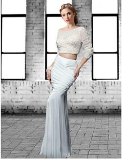 New Zealand Formal Evening Dress Trumpet Mermaid Jewel Long Floor Length Tulle Dress Spandex With Beading