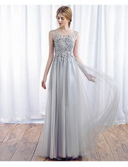 New Zealand Formal Evening Dress A Line Scoop Long Floor Length Tulle Dress With Appliques