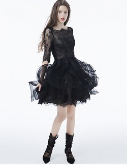 New Zealand Cocktail Party Dress Little Black Dress Ball Gown Bateau Short Mini Lace Tulle With Appliques Lace Ruffles
