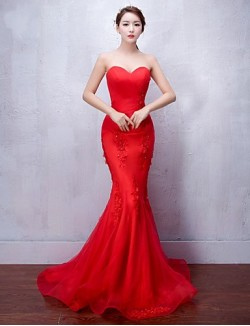 New Zealand Formal Evening Dress Trumpet Mermaid Sweetheart Sweep Brush Train Tulle With Appliques Beading
