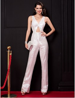 New Zealand Formal Evening Dress Sheath Column V Neck Long Floor Length Sequined With