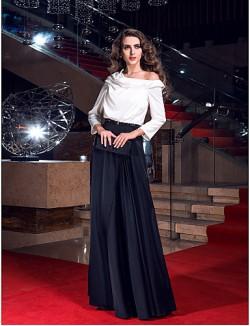 Prom Gowns New Zealand Formal Evening Dress Military Ball Dress Elegant Plus Size Petite Sheath Column Cowl Sweep Brush Train Stretch Satin