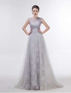 Dress Sheath Column Jewel Sweep Brush Train Lace Tulle With Crystal Detailing Lace