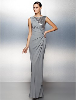New Zealand Formal Evening Dress Plus Size Petite Sheath Column Jewel Long Floor Length Jersey With Sequins Side Draping