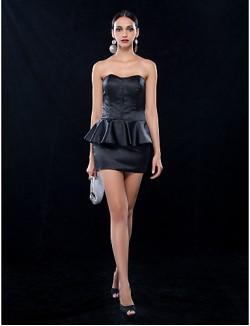 Sheath Column Sweetheart Short Mini Stretch Satin New Zealand Cocktail Dress