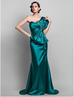 New Zealand Formal Evening Dress Military Ball Dress Open Back Plus Size Petite Trumpet Mermaid Sexy One Shoulder Sweep Brush Train Stretch Satin With