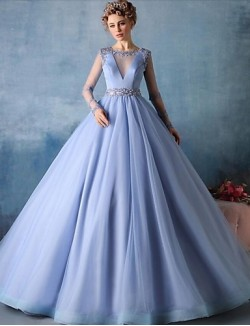 New Zealand Formal Evening Dress Ball Gown Jewel Court Train Tulle With Beading