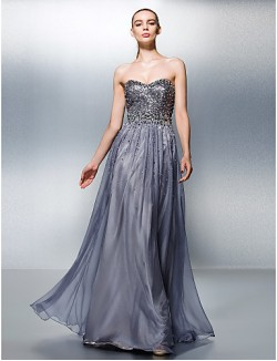 New Zealand Formal Evening Dress Plus Size Petite A Line Sweetheart Long Floor Length Tencel With Beading Sequins