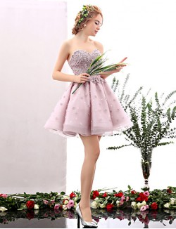 New Zealand Cocktail Party Dress A Line Sweetheart Short Mini Tulle With Flower Pearl Detailing