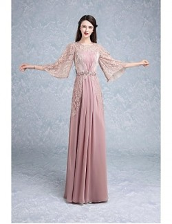 New Zealand Formal Evening Dress Trumpet Mermaid Jewel Long Floor Length Lace Dress With Beading Draping