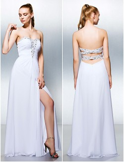 New Zealand Formal Evening Dress Plus Size Petite A Line Sweetheart Long Floor Length Georgette With Beading Split Front Ruching