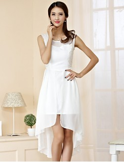 New Zealand Cocktail Party Dress Sheath Column Jewel Asymmetrical Chiffon Polyester With Lace
