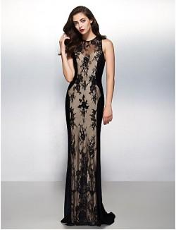New Zealand Formal Evening Dress Black Tie Gala Dress Sheath Column Jewel Sweep Brush Train Lace With Lace