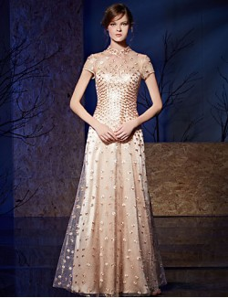 New Zealand Formal Evening Dress A Line High Neck Long Floor Length Organza Charmeuse With Embroidery Sequins