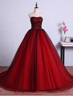 New Zealand Formal Evening Dress Ball Gown Strapless Sweep Brush Train Tulle With Crystal Detailing Lace