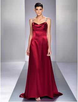 New Zealand Formal Evening Dress Military Ball Dress Elegant Open Back Plus Size Petite A Line Straps Sweep Brush Train Stretch Satin With Beading