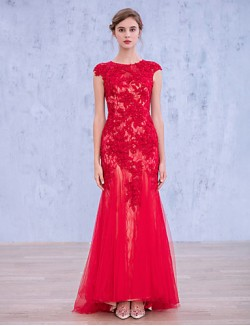 New Zealand Formal Evening Dress Trumpet Mermaid Jewel Long Floor Length Lace Dress Tulle With Appliques Beading Lace Sequins