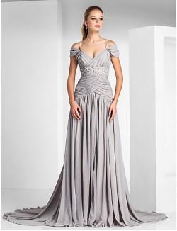 New Zealand Formal Evening Dress Elegant Plus Size Petite A Line Princess Off The Shoulder Spaghetti Straps Court Train Chiffon Charmeuse