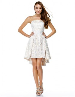 New Zealand Cocktail Party Dress A Line Strapless Asymmetrical Lace With Lace