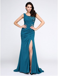New Zealand Formal Evening Dress Trumpet Mermaid V Neck Sweep Brush Train Chiffon With Appliques Lace
