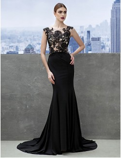 New Zealand Formal Evening Dress Trumpet Mermaid Scoop Court Train Jersey With Appliques