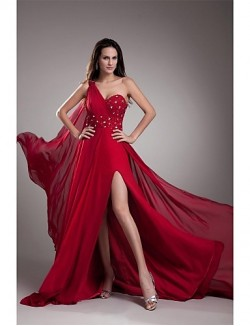New Zealand Formal Evening Dress A Line Sexy One Shoulder Court Train Chiffon With Beading Crystal Detailing