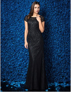 New Zealand Formal Evening Dress Black Tie Gala Dress Plus Size Petite Sheath Column Jewel Long Floor Length Lace Dress With Lace