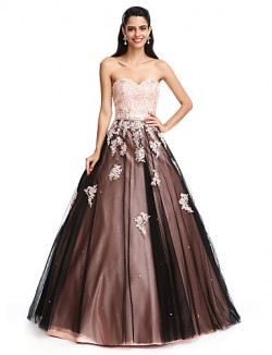 New Zealand Formal Evening Dress Ball Gown Sweetheart Long Floor Length Satin Tulle With Beading