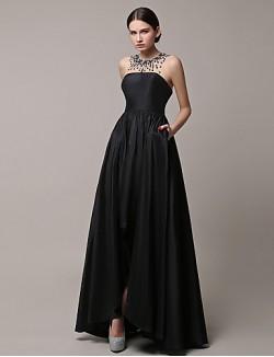 New Zealand Formal Evening Dress A Line Jewel Asymmetrical Satin With Beading