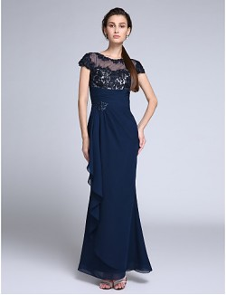 New Zealand Formal Evening Dress Trumpet Mermaid Jewel Long Floor Length Chiffon With Appliques Crystal Detailing