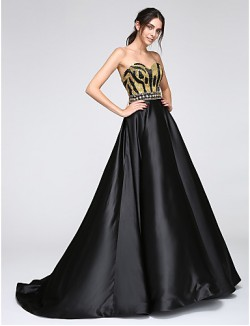 New Zealand Formal Evening Dress A Line Sweetheart Long Floor Length Satin With Sequins