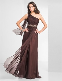 Prom Gowns New Zealand Formal Evening Dress Military Ball Dress Elegant Plus Size Petite Sheath Column Sexy One Shoulder Long Floor Length Chiffon With Beading