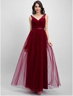 Ankle Length Tulle Bridesmaid Dress A Line V Neck With Criss Cross