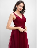 2017 Ankle Length Tulle Bridesmaid Dress A Line V Neck With Criss Cross