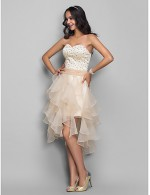 New Zealand Cocktail Party Dresses Homecoming Holiday Dress Open Back Plus Size Petite A Line Princess Sweetheart AsymmetricalOrganza Stretch