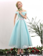 New Zealand Cocktail Party Dress A Line Off The Shoulder Tea Length Spandex With Sash Ribbon