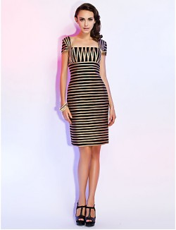 New Zealand Cocktail Party Dresses Holiday Dress Short Sheath Column Square Short Knee Length Tulle With