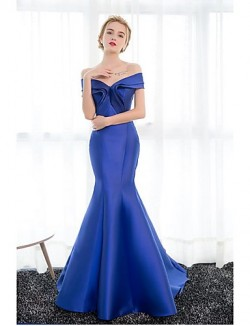 New Zealand Formal Evening Dress Trumpet Mermaid Off The Shoulder Court Train Satin With Draping