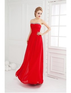 New Zealand Formal Evening Dress Ball Gown Strapless Long Floor Length Chiffon With Beading Ruching