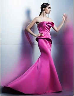 New Zealand Formal Evening Dress Trumpet Mermaid Strapless Sweep Brush Train Satin With