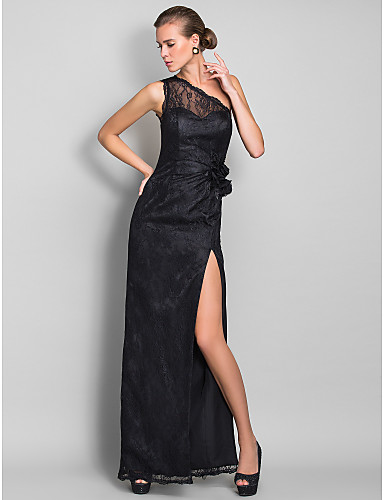 Prom Gowns New Zealand Formal Evening Dress Military Ball Dress Open Back Plus Size Petite Sheath Column Sexy One Shoulder Long Floor Length Lace Dress WithEmbroidery