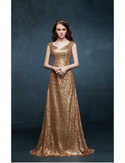 New Zealand Formal Evening Dress A Line V Neck Sweep Brush Train Sequined With Sequins