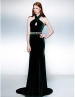 New Zealand Formal Evening Dress Black Tie Gala Dress Plus Size Petite Trumpet Mermaid Halter Court Train Velvet With Beading Sash Ribbon