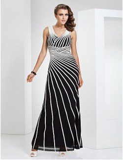 New Zealand Formal Evening Dress Military Ball Dress Elegant Sheath Column V Neck Long Floor Length Tulle Dress Stretch Satin With