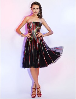 New Zealand Cocktail Party Dresses Holiday Dress Open Back A Line Princess Strapless Short Knee Length Tulle With