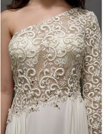 Prom Gowns New Zealand Formal Evening Dress Plus Size Petite A Line Sexy One Shoulder Long Floor Length Lace Dress Georgette With Lace